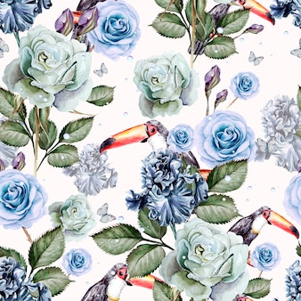 Pattern with watercolor realistic rose and iris and toucan bird. illustration.