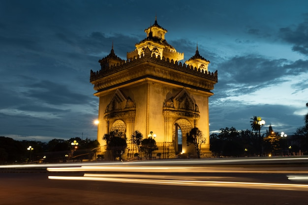 Patuxai victory monument architectural landmark of vientiane laos.
