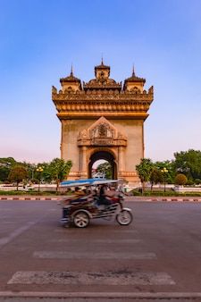 Patuxay monument landmark arch and war memorial in vientiane, laos,