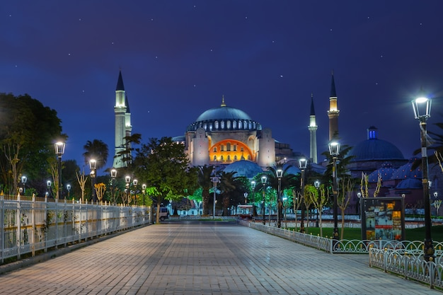 Pavement in front of the blue mosque at night