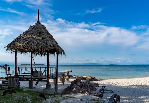 ヴィンテージとアイランドスタイルのフォームリーフで作られたパビリオンは、海のあるビーチに落ち着きます