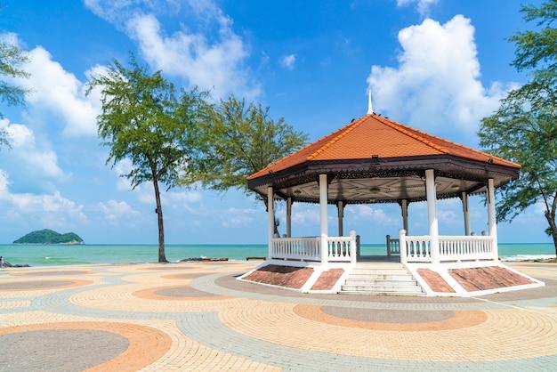 Pavilion with sea beach views in songkla, thailand