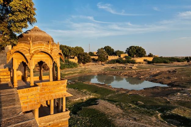 Pavillion at amar sagar lake, jaisalmer, rajasthan, india