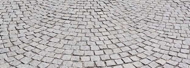 リヨン市の古い道路の敷石、パノラマビュー