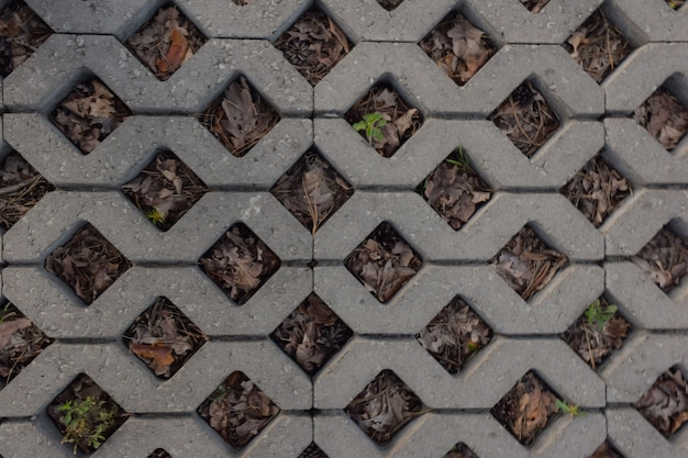Paving stone tiles on the whole background in the form of rhombuses. dry grass sprouted through it.