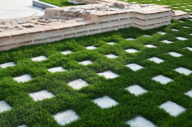 Paving stone walkway in landscape design and sidewalk decoration