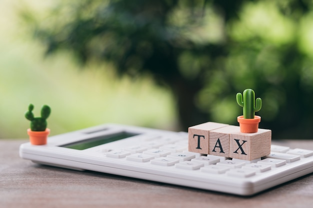 Pay annual income (tax) for the year on calculator. using as background business