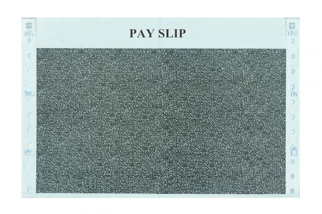 Pay slip and salary slip isolated on white