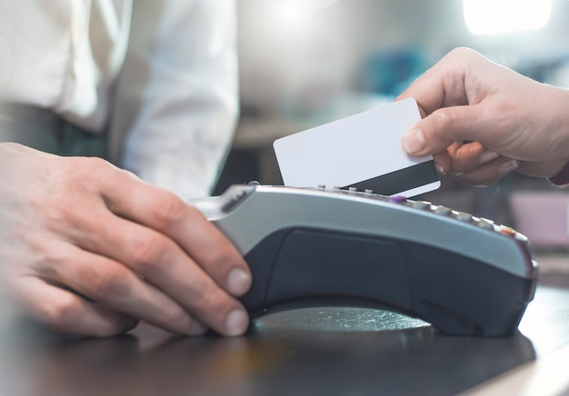 Payment by credit card through the pos terminal