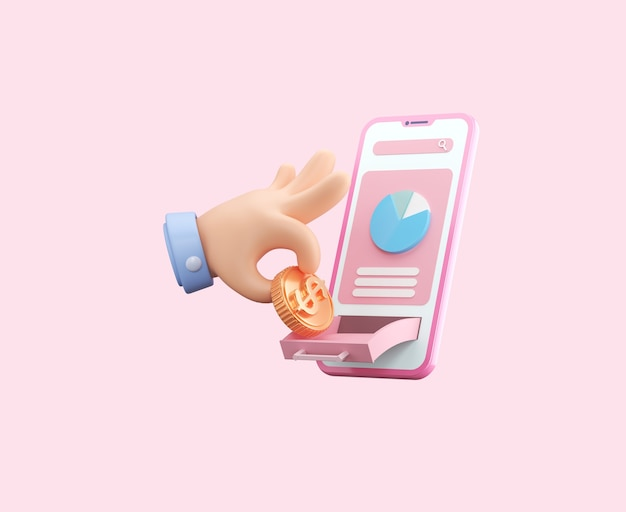 Payment and money saving with smart phone internet banking object floating background