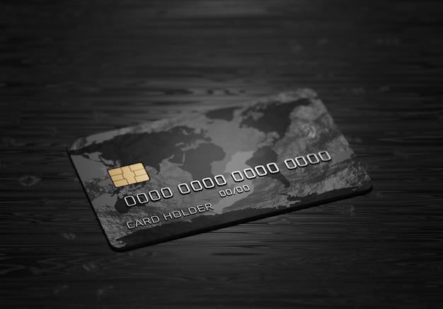 Система оплаты. онлайн-платежи. кредитная карта на темном деревянном фоне. 3d визуализация.
