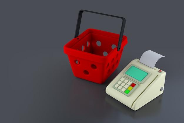 Платежный терминал и корзина для покупок на черном фоне. 3d иллюстрация