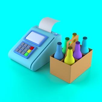 Платежный терминал и шесть пакетов пива в стеклянных бутылках на синем фоне. 3d иллюстрация