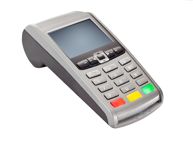 Payment terminal for credit card payments isolated on white background. pos terminal