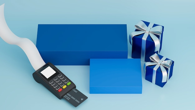 Payment terminal receipt with blue gift boxes and pedestal for your brand in pastel blue background