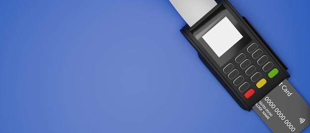파란색 배경 3d 렌더링 상위 뷰에 격리된 신용 카드 및 영수증이 있는 결제 터미널