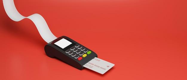 빨간색 배경 3d 렌더링에 격리된 신용 카드와 영수증이 있는 결제 터미널
