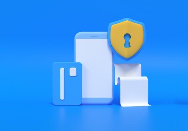 クレジットカードの概念による支払い。スマートフォンで安全なオンライン決済取引。モバイルのクレジットカードによるインターネットバンキング。 3dレンダリングイラスト