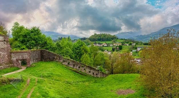 Pays basque, antique wall of saint jean pied de port in the south of france
