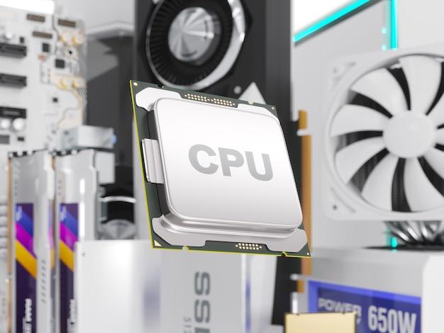 흰색 절연 pc 하드웨어 구성 요소입니다. 3d 그림