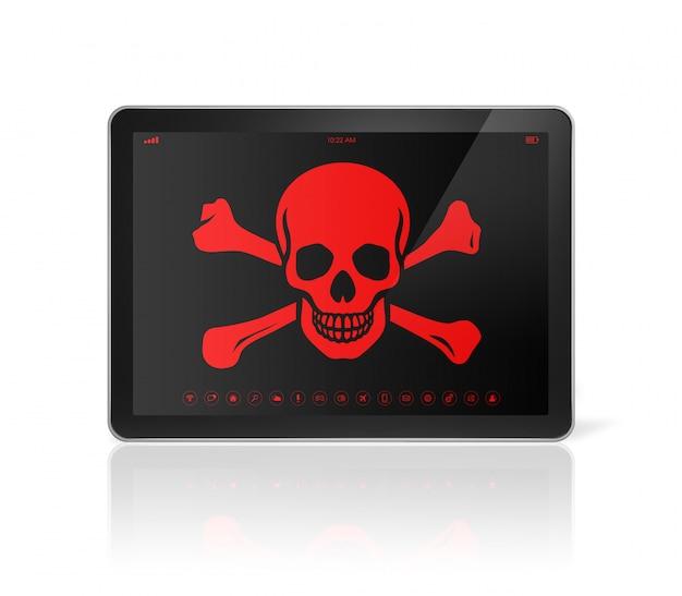 画面に海賊のシンボルが付いたタブレットpc。ハッキングの概念