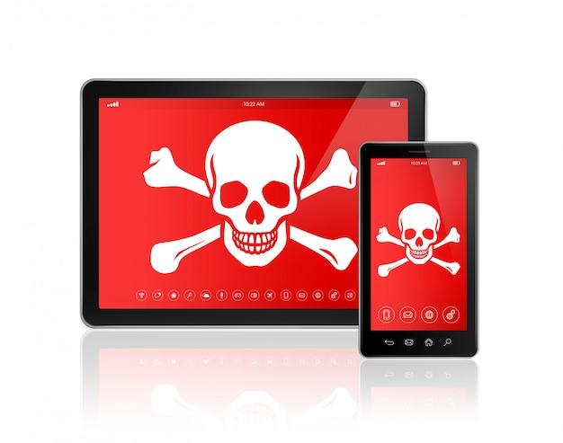 デジタルタブレットpcとスマートフォン画面上の海賊のシンボル。ハッキングの概念