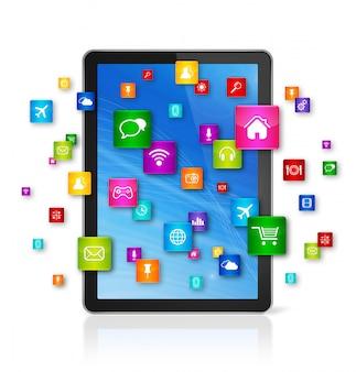 デジタルタブレットpcと飛行アプリアイコン