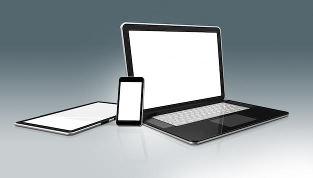ハイテクコンピューターセット。ラップトップ、携帯電話、デジタルタブレットpc