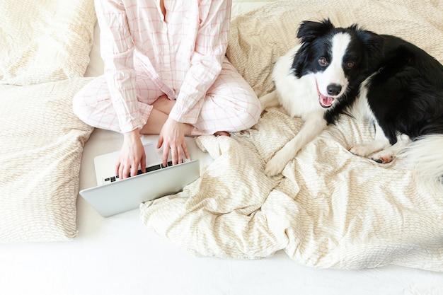 自宅のモバイルオフィス。自宅のラップトップpcコンピューターを使用して作業のペットの犬と一緒にベッドの上に座っているパジャマの若い女性。屋内で勉強しているライフスタイルの女の子。フリーランスのビジネス検疫コンセプト。