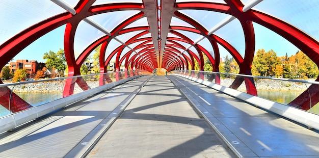 カナダのダウンタウンのカルガリーの一部とボウ川のある平和の橋