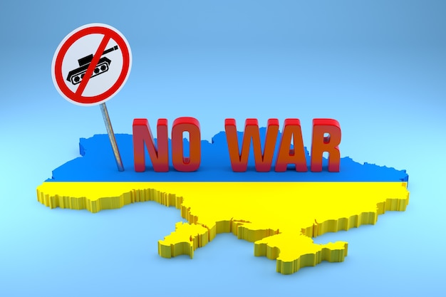 Peace concept now for ukraine and russia. 3d rendering