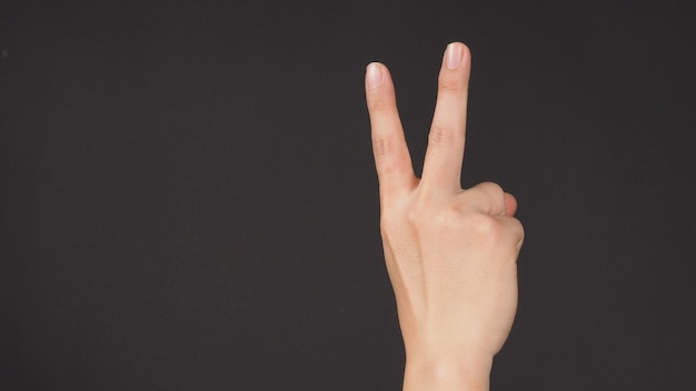 Peace sign.it is hand gesturing two finger on white background
