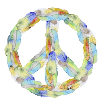 Peace sign made from feather