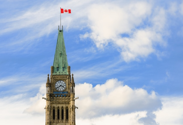 Peace tower of parliament hill in ottawa, canada
