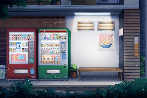 Мирная аллея и торговый автомат - ночь.