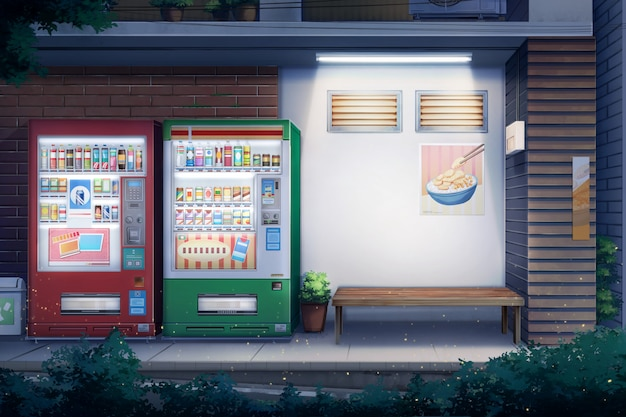 Peaceful alley and vending water - night.