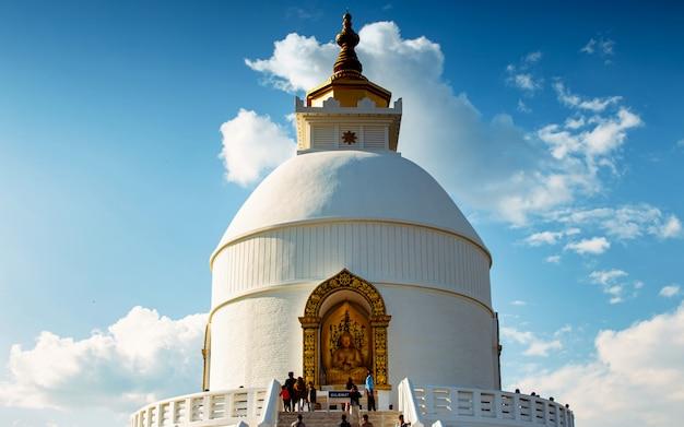 Peaceful buddha temple, santi stupa, pokhara, nepal.