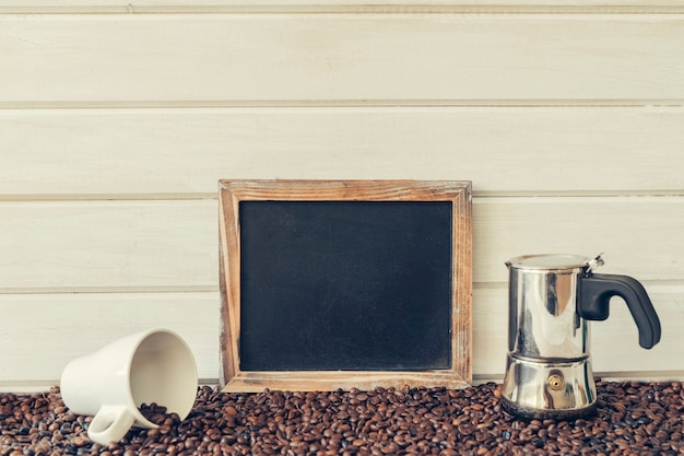 Peaceful coffee concept with slate