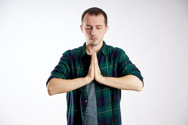 Peaceful man, relaxation and meditation, stress relief