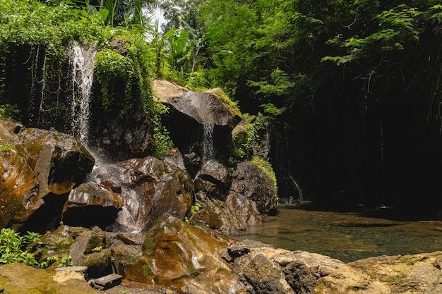 평화로운 장소. 정글의 강력한 폭포와 수영과 명상을 위한 장소, 이국적인 자연 개념