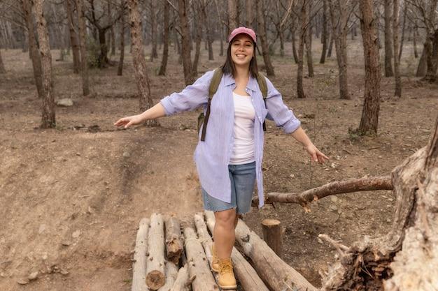 Peaceful woman enjoying the nature