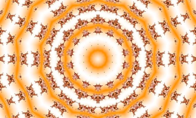 광선의 복숭아와 베이지색 추상 일출 버스트입니다. 집중선이 있는 관점. 그루비하고 환각적인 여름 배경입니다.
