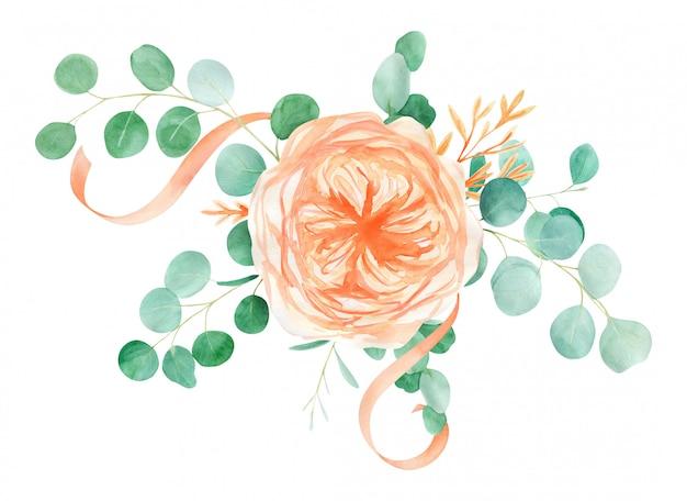 桃とオレンジの水彩バラの花束