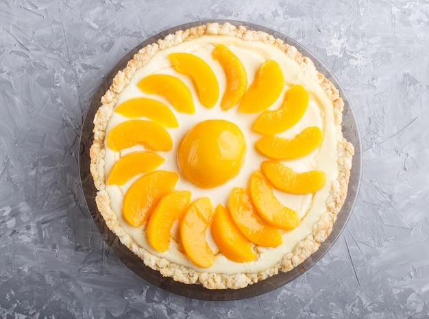 Peach cheesecake. top view, close up.
