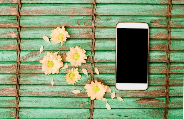 Peach colored flower head and cellphone on wooden shutter backdrop