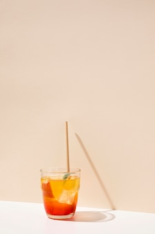 Peach fresh drink with straw