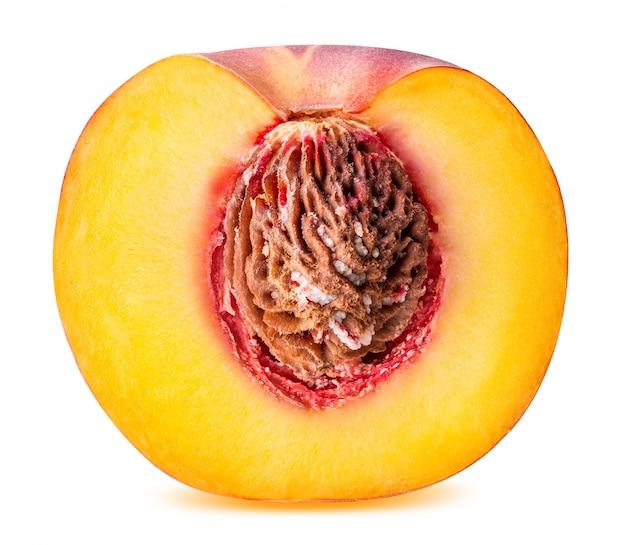 Peach fruit sliced isolated