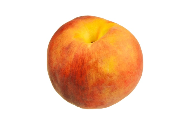Peach isolated on white surface.