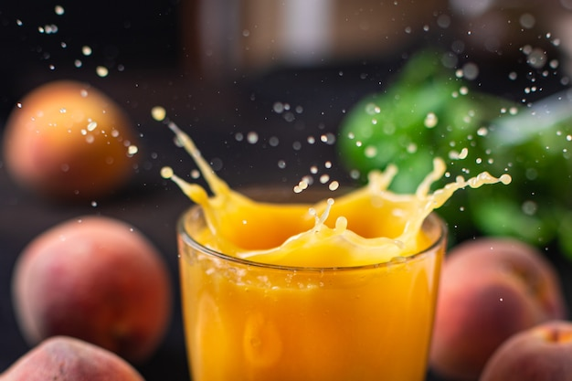 Peach juice smoothies fruit peaches drink fresh beverage meal snack on the table copy space food