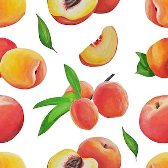 복숭아 패턴. 손으로 그린. 섬세한 과일은 사실주의 스타일의 수채화 스타일로 그려지고 격리됩니다.